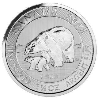 2015 - $8 - 1.5 oz Canadian Polar Bear and Cub Fine Silver Coin