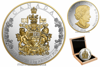 2016 - $250 - One Kilogram Pure Silver Coin – The Arms of Canada