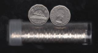 1955 Canada 5 Cents - 40 Coins in Plastic Tube