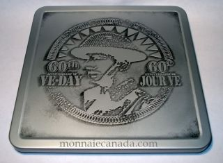 2005 - 5 Cent & Medallion - VE Day Proof Sterling Silver Set