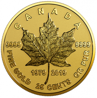 2019 - 25¢ - 0.5 g Pure Gold Coin - 40th Anniversary of the Gold Maple Leaf (GML)