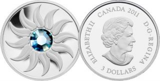 2011 - $3 - Fine Silver Coin - March Birthstone (Aquamarine)