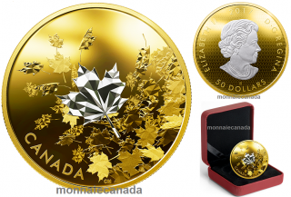 2017 - $50 - 3 oz. Reverse Gold-Plated Pure Silver Coin - Whispering Maple Leaves