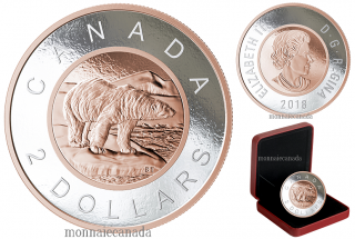 2018 - $2.00 - 5 oz. Pure Silver Coin with Rose Gold Plating - Big Coin Series: Polar Bear