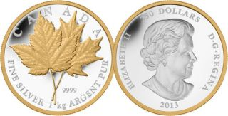 2013 - $250 - Fine Silver 1 kilogram Coin - Maple Leaf Forever