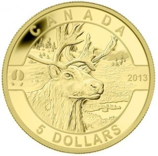 2013- $5 - 1/10 oz Pure Gold Coin - Caribou