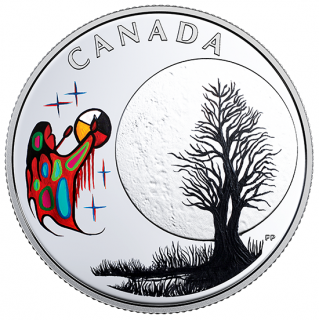 2018 - $3 - Pure Silver Coloured Coin - Thirteen Teachings From Grandmother Moon: Freezing Moon