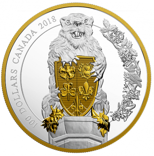 2018 - $100 - 10 oz. Pure Silver Gold-Plated Coin - Keepers of Parliament: The Beaver