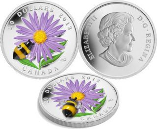 2012 - $20 - Fine Silver Coin - Aster with Venetian Glass Bumble Bee