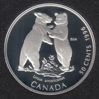 1996 - Proof - Black Bear Cubs - Silver - Canada 50 Cents