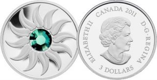 2011 - $3 - Fine Silver Coin - May Birthstone (Emerald)