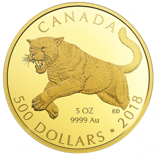 2018 - $500 - 5 oz. Pure Gold Coin - Cougar