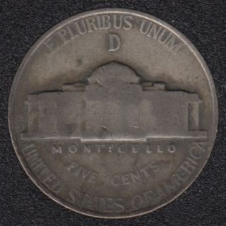 1945 D - Jefferson - Wartime Silver - 5 Cents