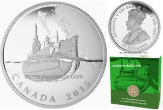 2015 -$20 - 1 oz argent fin – Le front intérieur: Premiers sous-marins canadiens la Première Guerre