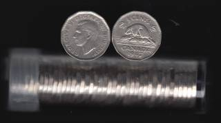 1947 Canada 5 Cents - 40 Coins in Plastic Tube