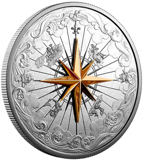 2019 - $50 - 5 oz. Pure Silver Coin - Rose of the Winds