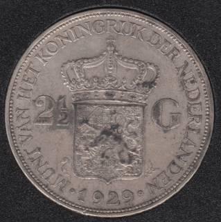 1929 - 2 1/2 Gulden - Silver - Netherlands