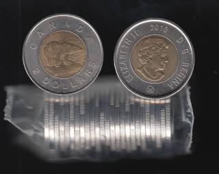 2010 Canada $2 Dollars - Polar Bear - BU Roll 25 Coins - UNC