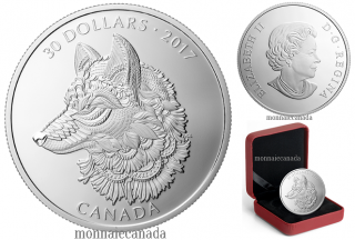 2017 - $30 - 2 oz. Pure Silver Coin - Zentangle® Art: The Great Grey Wolf