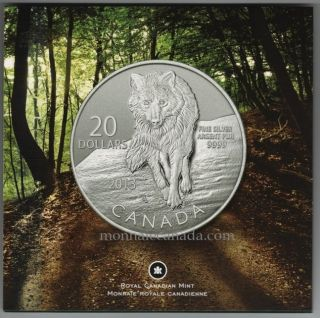 2013 - $20 for $20 Fine Silver Coin - Wolf