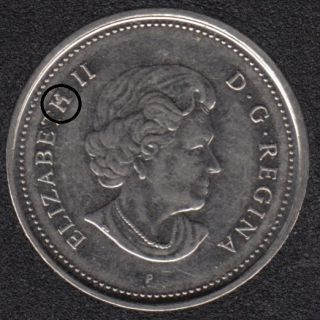 2005 P - Dot on 'H' - Canada 5 Cents