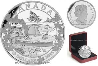 2015 - $10 - 1/2 oz. Fine Silver - Canoe Across Canada - #4 Serene Scene