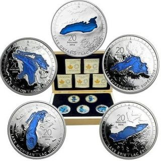 2014 - 2015 - 5 Coins Set - $20 - Fine Silver - Great Lakes