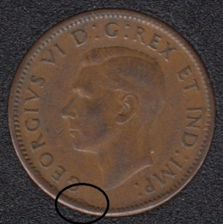 1945 - Dot on Rim - Canada Cent