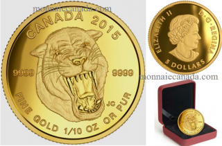 2015 - $5 -1/10 oz Fine Gold - Prehistoric Animals: American Scimitar Sabre-Tooth Cat