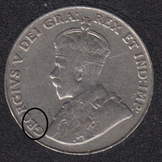 1932 - Die Break - GEO Attached - Canada 5 Cents