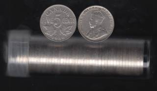 1936 Canada 5 Cents - Roll 40 Coins in Plastic Tube
