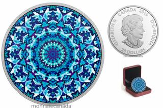 2016 - $20 - 1 oz. Pure Silver Coloured – Canadiana Kaleidoscope - Polar Bear