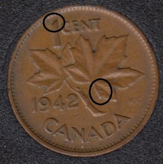 1942 - Dot on ML & 1 - Canada Cent