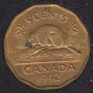 1942 - Tombac - B.Unc - Rouille - Canada 5 Cents