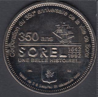Sorel - 1992 - 1642 - 350° Ann. - $2 Dollar de Commerce