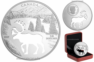 2017 - $30 - Pure Silver Coin – Endangered Animal Cutout: Woodland Caribou