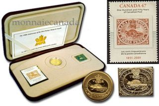 2001 - 3 Cent - gold-plated + 150th Anniv. First stamp + 3 cents gold-plated