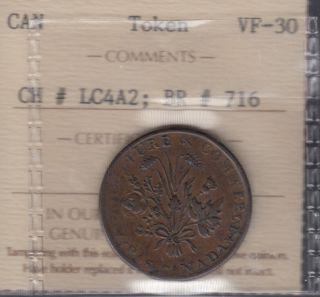 L.C. 1837 Famous Rebellion Sou by Jean-Marie Arnault - Banque du Peuple - Half Penny Token - ICCS VF-30 - LC-4A2