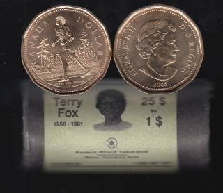 2005 Canada Roll $1 Dollar - Terry Fox - Special Wrapped - 25 Coins - UNC