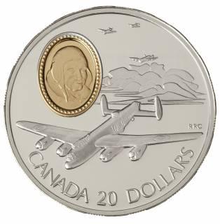 1990 Canada $20 Dollars Sterling Silver - Avro Lancaster - Powered Flight