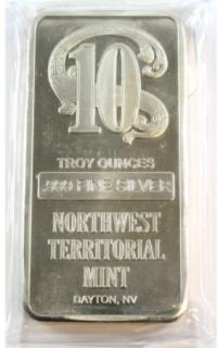 10 oz - Barre en Argent Pur Northwest Territorial Mint - DISPONIBLE SUR RENDEZ-VOUS SEULEMENT - sans taxe