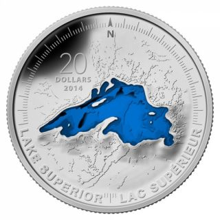 2014 - $20 - 1 oz. Fine Silver Coin - Lake Superior