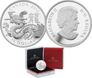 2012 - $15 - 1 oz Fine Silver Classic Chinese Zodiac Coin - Year of the Dragon  $15