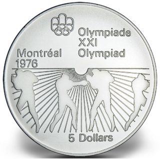 1976 - #24 - $5 - Sterling Silver Coin, Montreal Summer Olympic Games, Boxing