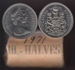1971 Canada 50 Cents - Rouleau 20 Pieces Brilliante Uncirculées