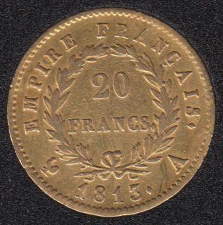 France 1813 A - Napoleon Empereur - 20 Francs Gold - 6,45 gr. - 0.900 Gold - 0.1867oz