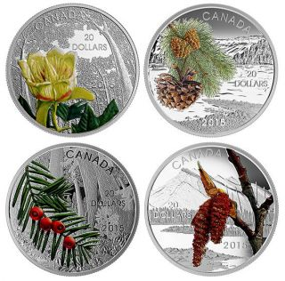 2015 - 4 Coins Set - $20 - Fine Silver - Forests of Canada