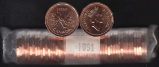 1991 Canada 1 Cent - BU ROLL 50 Coins - UNC