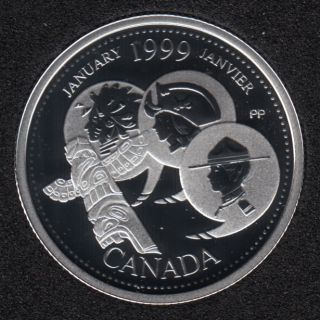 1999 - #1 Proof - Silver - January - Canada 25 Cents