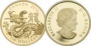 2012 - $150 -  Gold Classic Chinese Zodiac Coin - Year of the Dragon